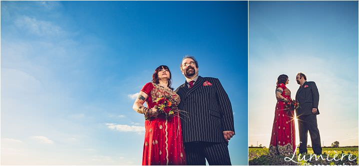 red themed wedding couple at pub wedding