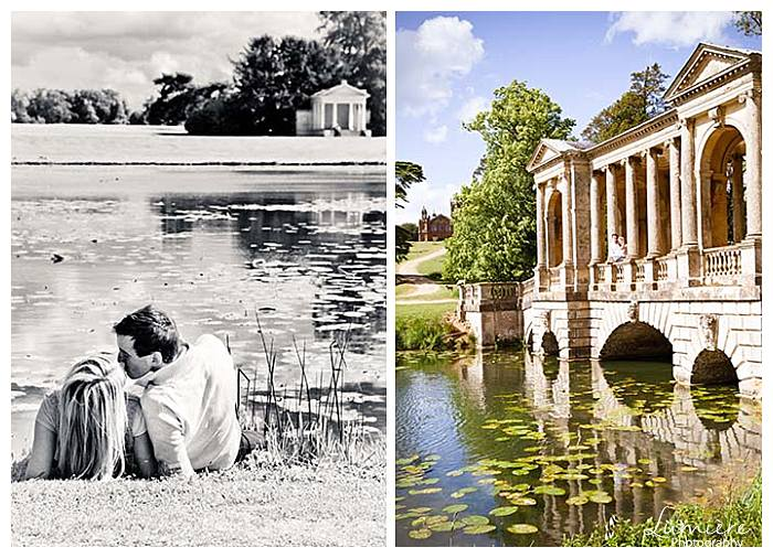 engagement photoshoot in stowe gardens near the water