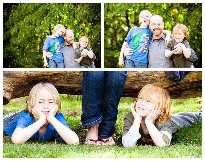 Dad and kids at nottingham family photoshoot in rushcliffe park