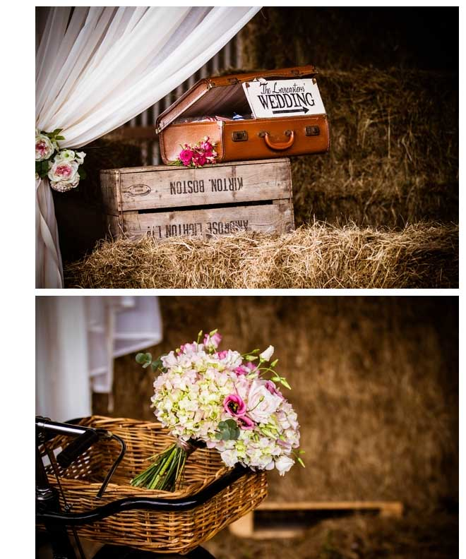 vintage wedding photoshoot details in hay stack