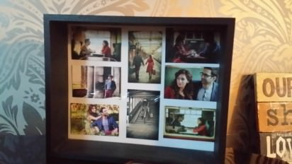 frame with pre-wedding photos
