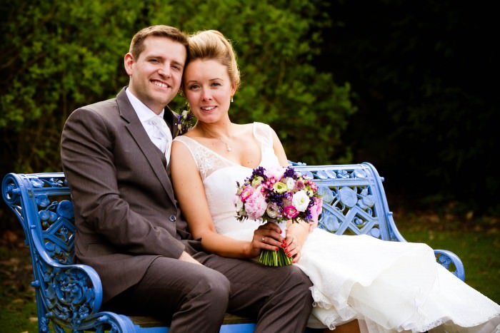 bride and groom at east bridgford hill wedding
