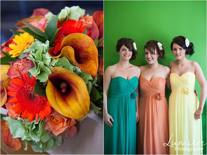 same bridesmaid dress in different colours matching the bouquet