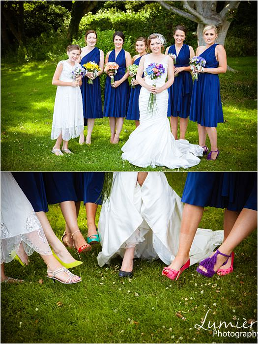 same bridesmaid dress with different tie up and different shoes