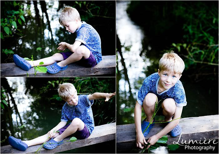Leicester Family Photographer boy by stream