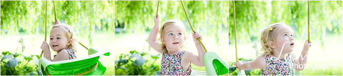 Leicester Family Photographer girl with swing