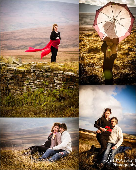pregnant couple outdoors in Yorkshire