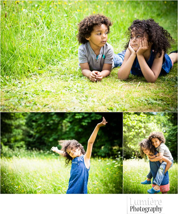 children having fun at natural family portrait in leicester
