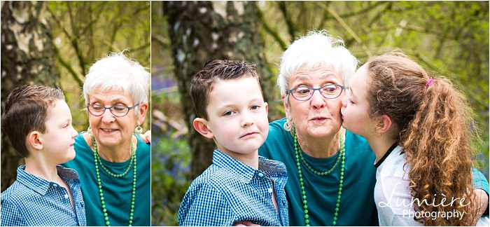 giving gran a kiss at family photoshoot in loughborough