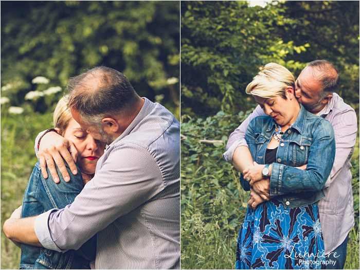 man hugs his fiancee in Nottingham pre wedding photographer's shoot