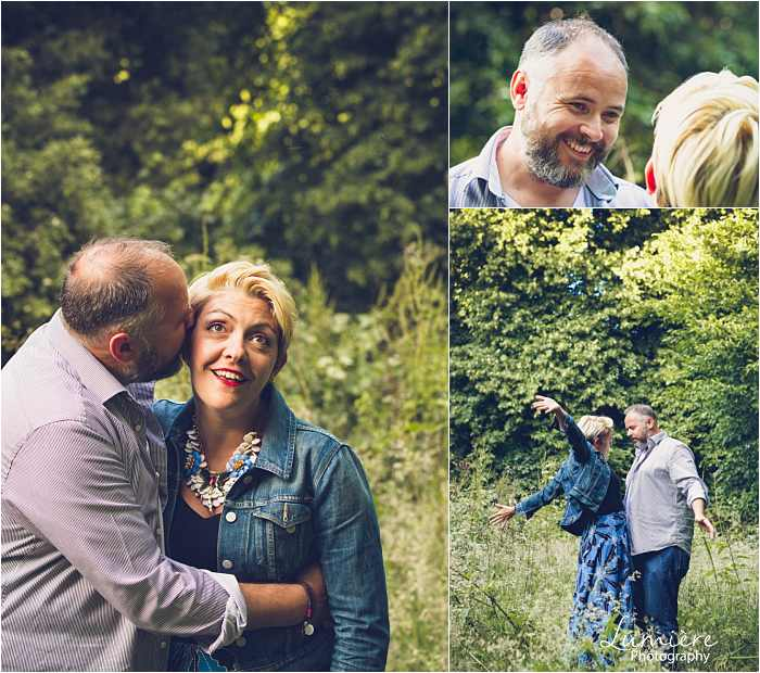 couple has fun in Nottingham pre wedding photographer's shoot