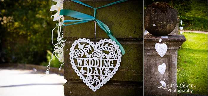 hearts signage for wedding at Hargate Hall wedding