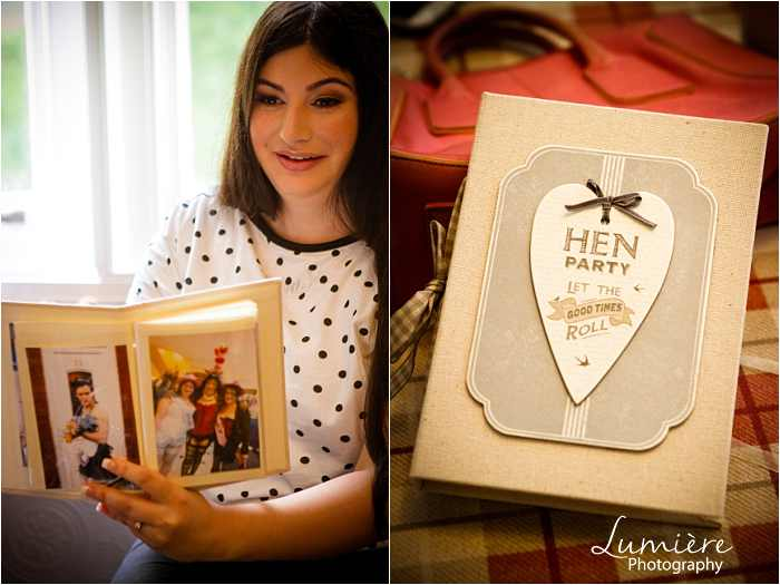 hen night mementoes at Hargate Hall wedding