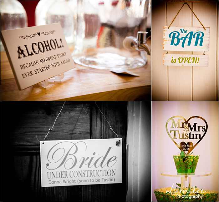 wedding signage at Hargate Hall wedding