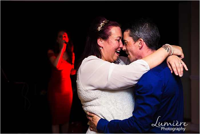 wedding anniversary party Leicester couple dancing in front of wedding singer