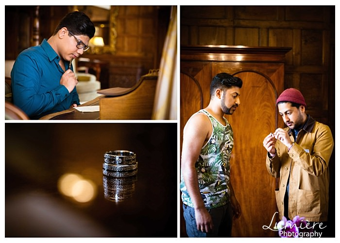 gay wedding at Rushton Hall: getting ready