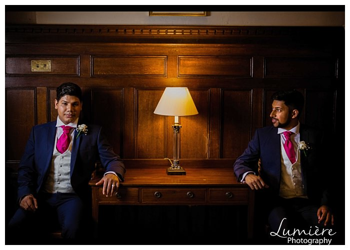 gay wedding at Rushton Hall: the grooms