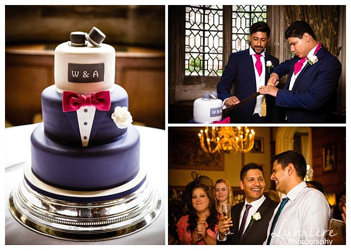 Gay wedding at Rushton Hall. Cutting the cake