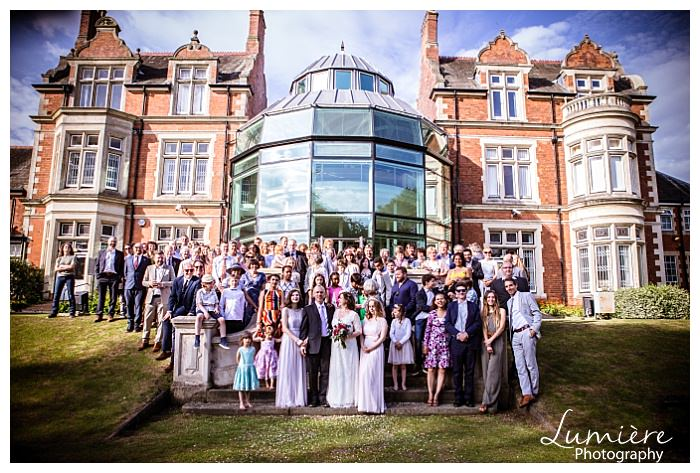 uffculme centre wedding in Birmingham group shot