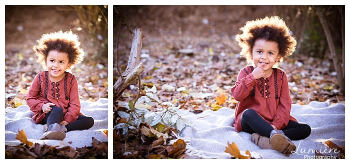 little girl on a blanket outdoors in autumn- www.lumiere-photography children photographer Leicester