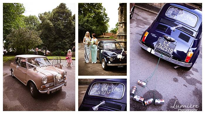 quorn wedding with an italian flavour: morris minor and fiat mini
