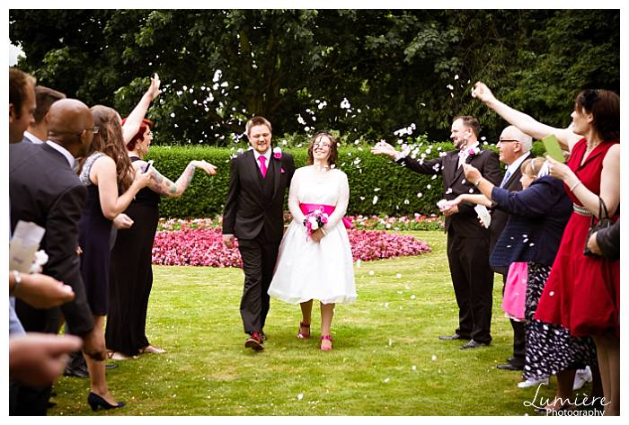 Pink Retro Wedding Couple In Loughborough The Confetti At Registry Leicestershire Photographer Lumiere