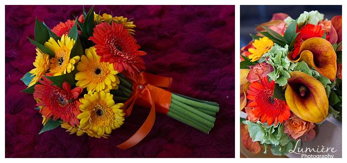 bright and bold themed wedding flowers