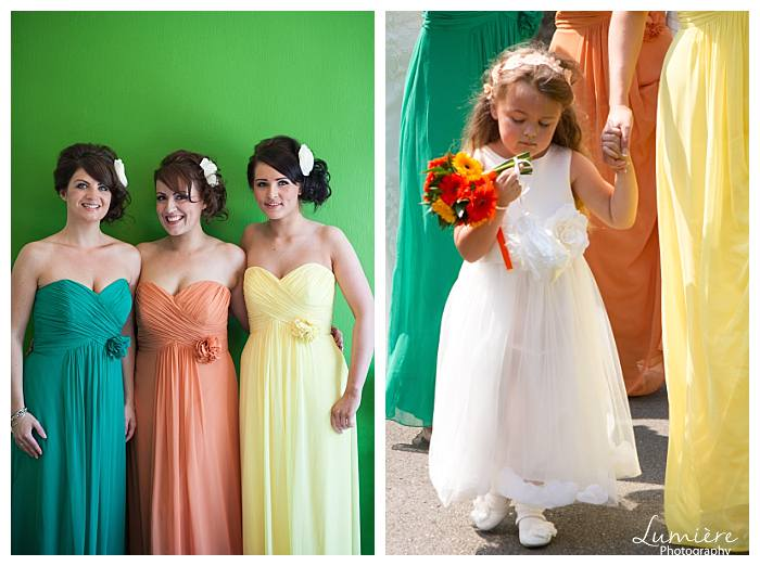 bright and bold themed wedding bridesmaids