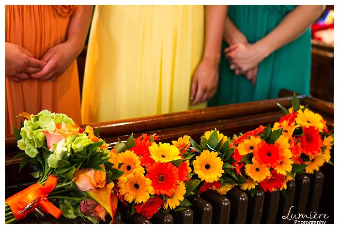 Bright and bold themed wedding at Prestwold Hall