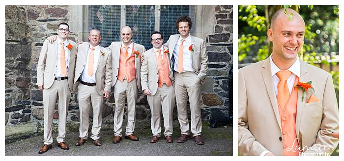 brigth and bold themed wedding groomsmen