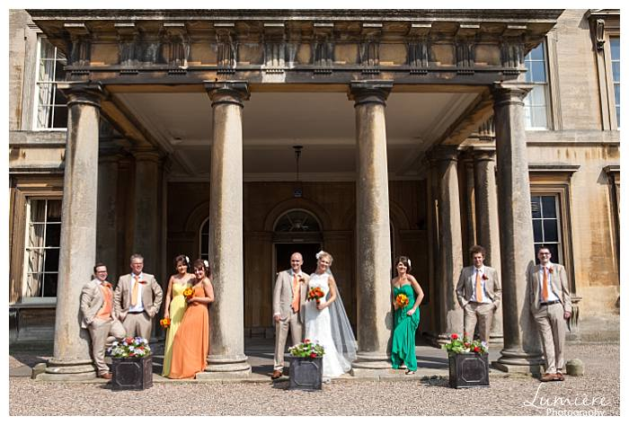 bright and bold themed wedding party at Prestwold hall