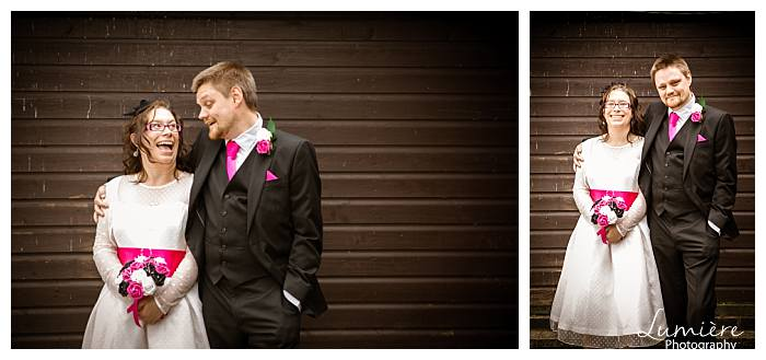 Pink Retro Wedding Couple In Loughborough Front Of The Boat Club At Zouch
