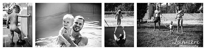 reportage family photography swimming and tennis, doing whatever the others do