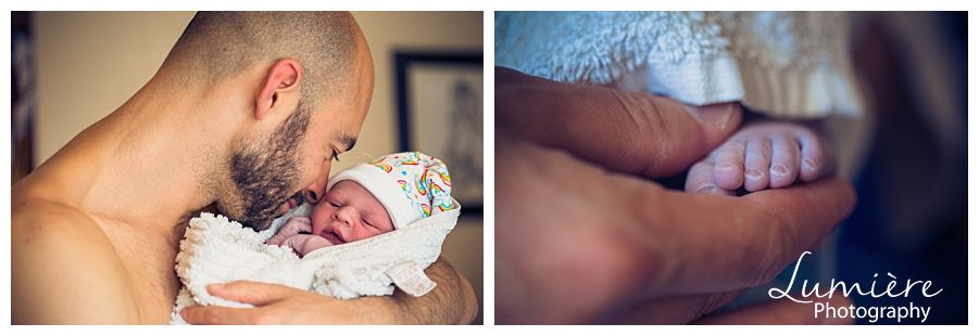 Nottingham Home birth photographer- the baby with daddy
