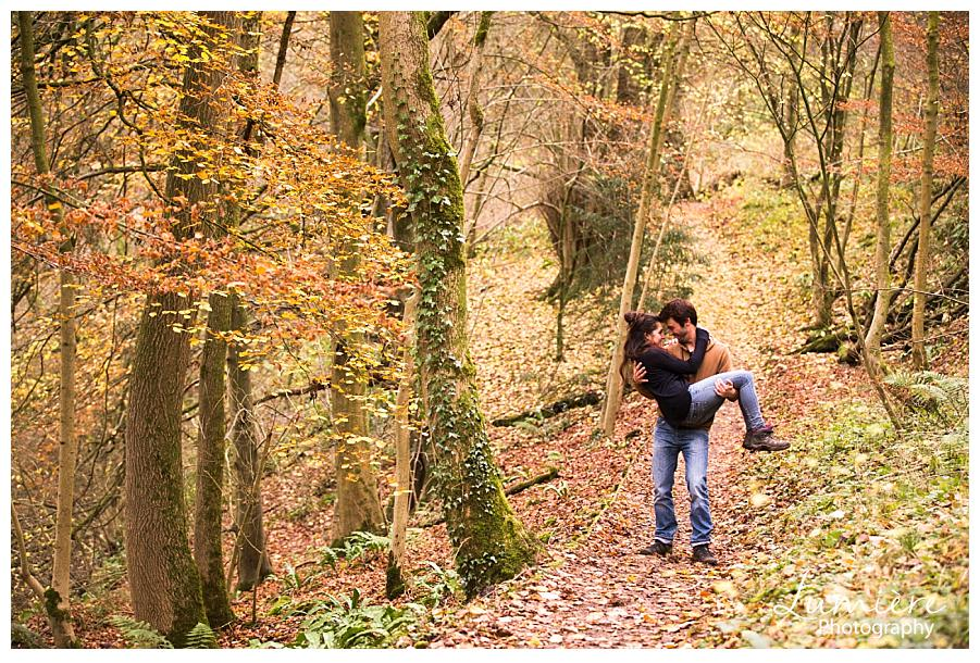 Autumn pre wedding photography at Ilam Hall, Derbyshire