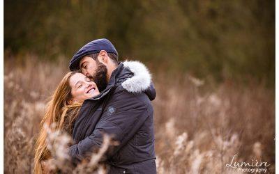 Autumn pre-wedding photoshoot in Derbyshire