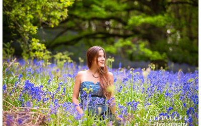 Fun portraits in the bluebells woods in Loughborough