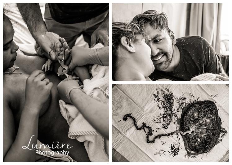 home birth photography in leicester cutting the cord