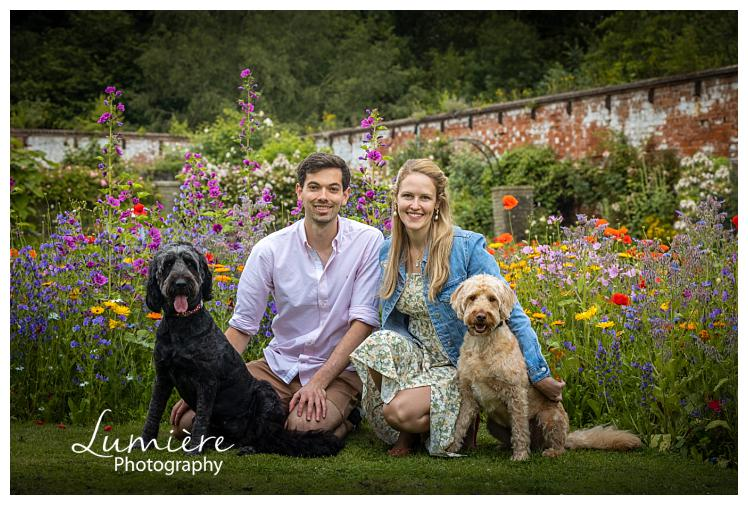 dogs photoshoot with their humans at elvaston castle